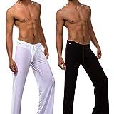 CHIC-CHIC Hommes Casual Danse Yoga Pantalon Hiphop Baggy Sport Jogging Sarouel Pants Souple Pyjama (L, Blanc)