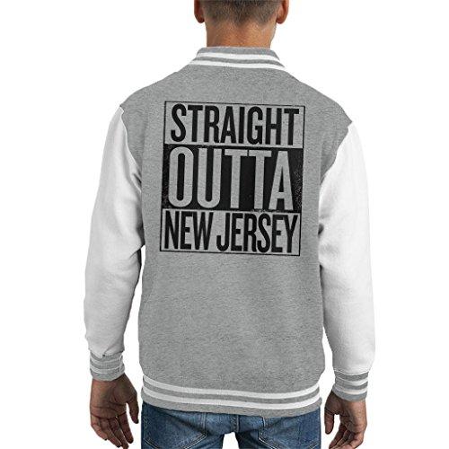 Coto7 Black Text Straight Outta New Jersey US States Kid's Varsity Jacket -