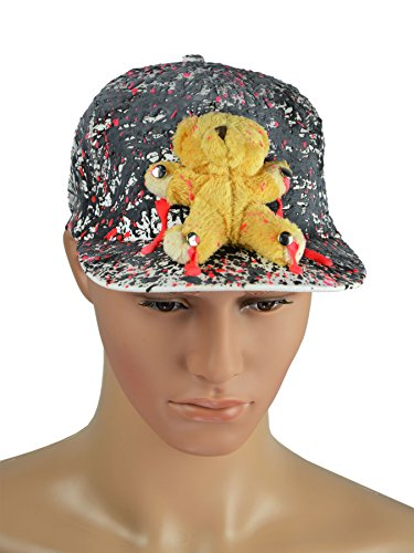 PSYWORK Schwarzlicht Mütze Neon BEAR FLATPEAK CAP WHITE