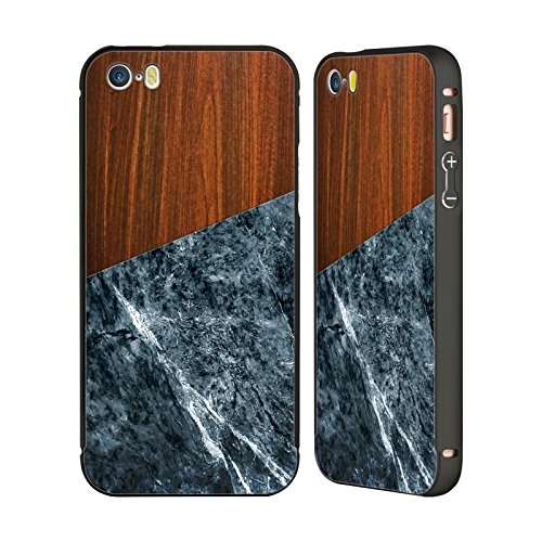 Offizielle Nicklas Gustafsson Holz Anker Texture Schwarz Rahmen Hülle mit Bumper aus Aluminium für Apple iPhone 5 / 5s / SE Holz Marmor dunkel