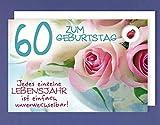 Grußkarte 60 Geburtstag Karte Happy Birthday Applikation Glücksbringer rosa Rosen C6