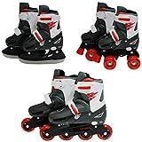 SK8 Zone Jungen Rot 3-in-1 Roller Blades Inline Rollschuhe Verstellbare Größe Kinder pro Combo Multi Eislaufen Stiefel