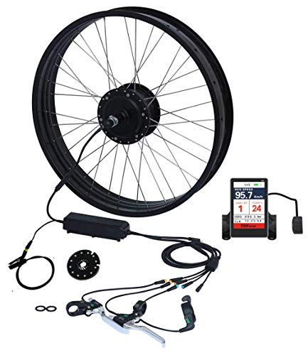 TZIPower Farbdisplay Fat Bike Umbausatz E Bike 26 Zoll x4.0 Hinterrad Heck 48V 500Watt Fat-Bike E-Bike Kit Pedelec Elektrofahrrad Fat Kit