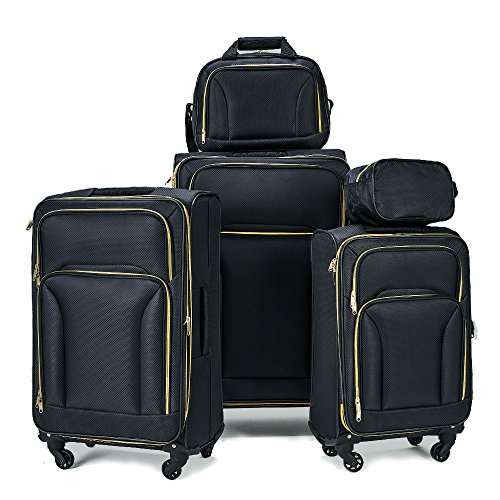 Fochier Expandable 5 Piece Set Softshell Luggage Lightweight Spinner Suitecase,Black