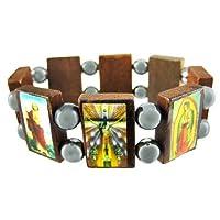 Zeckos Wooden & Hematite Bead Christian Stretch Bracelet