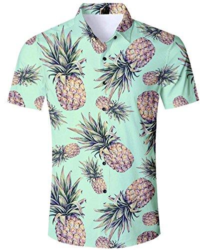AIDEAONE Herren Knopf Hemd Strandkleidung Kurzarm Urlaub Hemd Hawaii Grün -