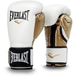 Everlast Powerlock Gants de boxe d'entraînement en polyuréthane Article de boxe L Blanc/doré (12 OZ)