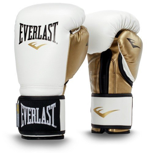 Everlast Power Lock Training Gloves PU Box articolo, Unisex, Powerlock training gloves PU, Bianco/Oro, 340 g