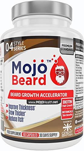 MOJO BEARD - Bartwachstum | Bartwachstumsstimulator | Bartwachstumsbeschleuniger | Nahrungsergänzungsmittel für erhöhtes Bartwachstum | Bartwachstumspillen - GELD-ZURÜCK-GARANTIE