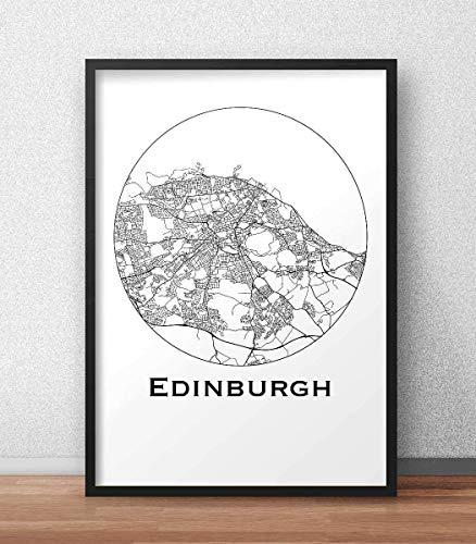 Plakat Edinburgh Schottland Minimalist Map - Poster, City Map, Dekoration, Geschenk