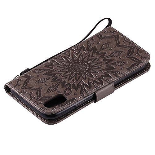 Custodia iPhone X, cmdkd Wallet Custodia Bumper per iPhone X. (Porpora) Grigio