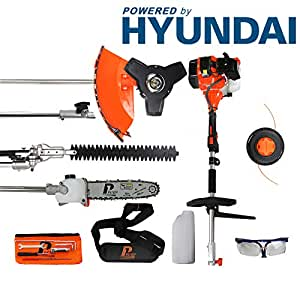 P1PE P5200MT 52cc Petrol Garden Multi Tool inc Hedge Trimmer, Pole Saw, Brush Cutter, Grass Trimmer Hyundai Powered