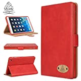 Apple iPad iPad Air Genuine Luxury Executive Leather Case Gorilla Tech Brand Smart Protective Designer Cover with Stand for Apple iPad Air Model number A1474 / A1475 iPad 5th Generation Red from Protect with Style Series in Retail Packing