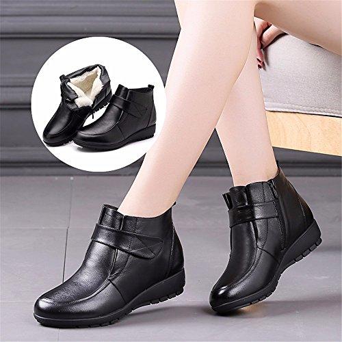 HXVU56546 Nouveau Femmes De Coton DHiver Plus Chaud En Velours Bottes Mode Cuir Synthétique Antidérapante black