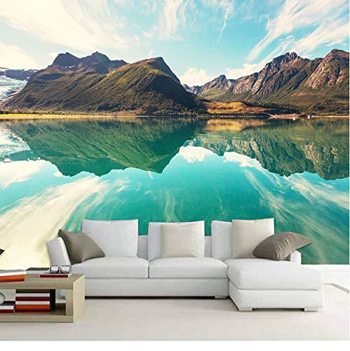 Benutzerdefinierte Wandbild Tapeten Landschaft Berge See Licht Berg Farbe Einfache Wohnzimmer Hintergrund 3D Seidentuch Home Decor450 (W) X300 (H) Cm -