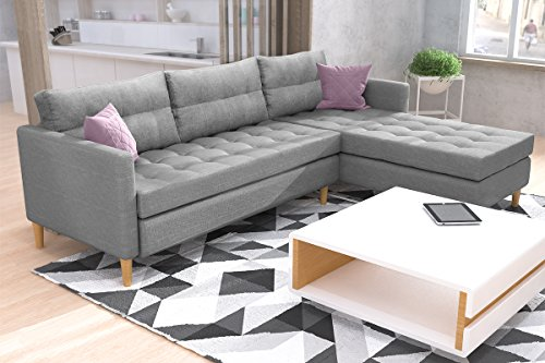 kopenhagen ecksofa eckcouch in grau mit federkern ottomane links oder rechts m. Black Bedroom Furniture Sets. Home Design Ideas