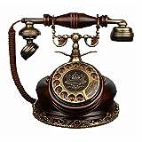 NO BRAND Dial Tradicional Retro clásico Estilo de teléfono Antiguo de Madera y Cuerpo de Metal,...