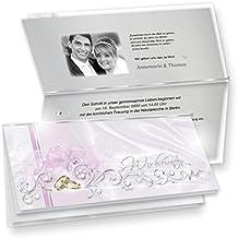TATMOTIVE Einladungskarten Hochzeit DE LUXE 20 ER Sets   Silbergrau +  Umschläge