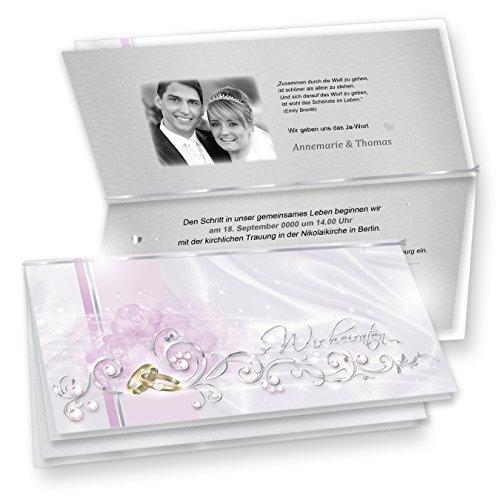 TATMOTIVE Einladungskarten Hochzeit DE LUXE 10-ER Sets - silbergrau + Umschläge