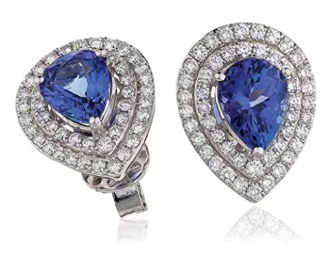 4.85CT Certified G/VS2 Pear Shape Tanzanite Centre with Micro Set Pear Shape Halo Diamond Stud Earrings in 18K White Gold