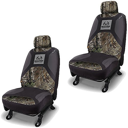 Preisvergleich Produktbild Realtree Outfitters Brand Camo Logo Infinity Camouflage Version 2.0 Auto Car Truck SUV Vehicle Universal-Fit Safe Seam Seat Airbag Compatible Low Back Bucket Seat Cover with Head Rest Cover - PAIR by LA Auto Gear