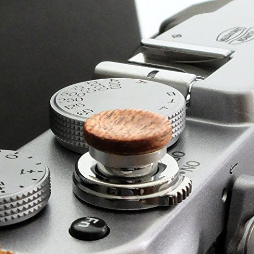 Auslöseknopf aus Aluminium/Holz - Mahagoni (konkav, 11mm) für Leica M-Serie, Fuji X100, X100S, X100T, X100F, X10, X20, X30, X-T2, X-T10, X-T20, X-Pro1, X-Pro2, X-E1, X-E2, X-E2S und die meisten Kameras mit Drahtauslöser-Gewinde, innerhalb von 24 Stunden versandbereit