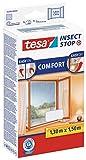 tesa Insect Stop COMFORT Fliegengitter für Fenster - Insektenschutz mit Klettband selbstklebend - Fliegen Netz ohne Bohren - Weiß, 130 cm x 150 cm Vergleich