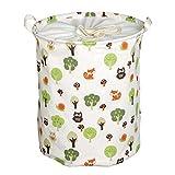 Andux Faltbare Wäschekörbe Wäschesäcke,Kinder Spielzeug Aufbewahrungskorb Aufbewahrungstasche (bunte eule) ZYL-01