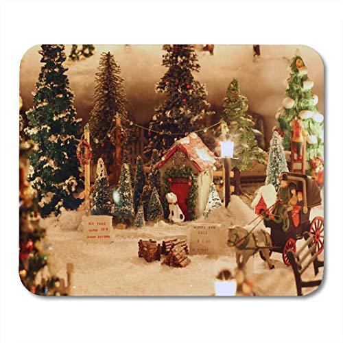 Deglogse Gaming-Mauspad-Matte, Bauble Blue Stocking Miniature Christmas Village Tree Lot Ball Mouse Pad, Desktop Computers mats