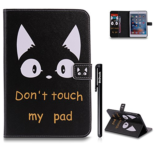 BtDuck iPad Mini 4 Hülle Schwarz,Buntes Muster Weich Ultra Slim Schutzhülle Folio Stand Handyhülle mit Schlaf/Wach-up-Funktion Magnetverschluss Tasche Sleeve Geldbeutel Kartenfächer Flip Case Katze