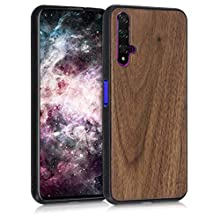 kwmobile Wooden Cover Compatible with Huawei Nova 5T - Hard Case with TPU Bumper - Dark Brown