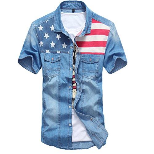 Dooxi uomo slim fit casual camicie estate manica corta camicia di jeans blu scuro 2xl