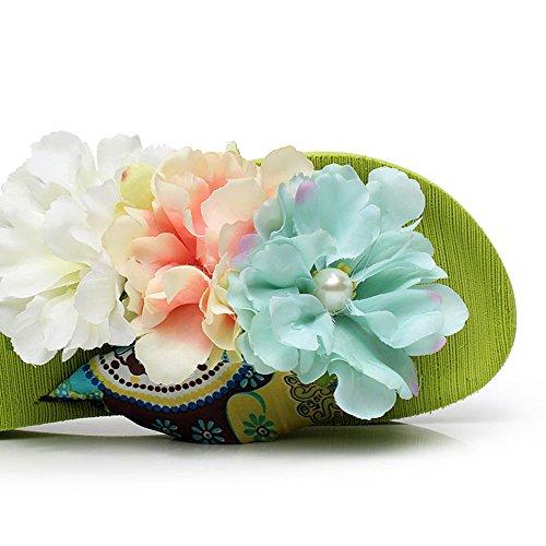 Estate Sandali 4.5 cm Flip flop femminile di nuovo modo di estate (verde / blu / bianco / giallo) Colore / formato facoltativo Verde