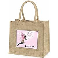 Fairy Hearts Personalised Large Natural Jute Shopping Bag Christmas Gift Idea