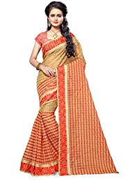 FINE WEAR WOMEN'S ETHNIC WEAR JARI BORDERED KANJIVARAM COTTON SILK ROYAL RED COLOUR SAREE.