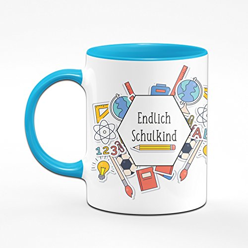 Tasse zur Einschulung - Endlich Schulkind - Geschenke zur Einschulung für Mädchen & Junge - Zum Schulanfang für die Schultüte - Farbe wählbar (Hellblau) - 2