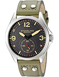 Stuhrling Original Men's Quartz Watch with Grey Dial Analogue Display and Green Leather Strap 684.03