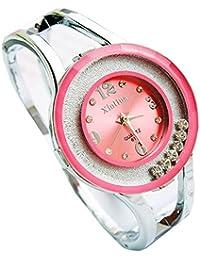 ufengke® mujeres acero inoxidable del Rhinestone vestido pulsera banda reloj de pulsera-rosa