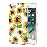 ZQ-Link Cover iPhone 8,Cover iPhone 7, Girasoli Fiori Floral Flower con Disegni TPU Bumper con Protettiva Custodia Posteriore(d'oro impianto Sunflowers)