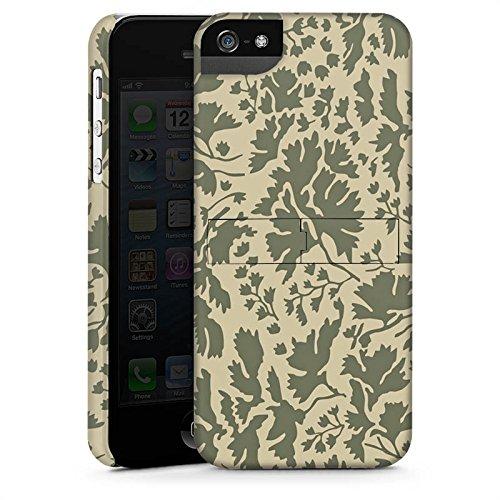 Apple iPhone 5 Housse Étui Silicone Coque Protection Motif floral Feuillage Marron CasStandup blanc