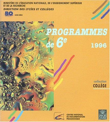Programmes de 6e, 1996