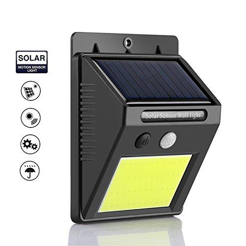 Zolmax COB LED Solar Powered PIR Motion Sensor Light Outdoor Garden Security Wall Lights (4 Pack)