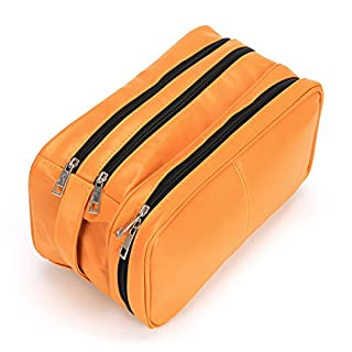 Sumnacon PU Leather Toiletry Bag Unisex Waterproof Travel Cosmetic Bag Organizer Perfect for Shaving Grooming Dopp Kit & Household Business Vacation with Portable Handle (Orange)