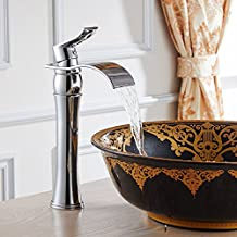 Moda moderna finitura cromata bagno Alto rubinetto del bacino del dispersore della cascata di miscelatore del rubinetto singola maniglia Hole rubinetti diffusa lavabo da appoggio