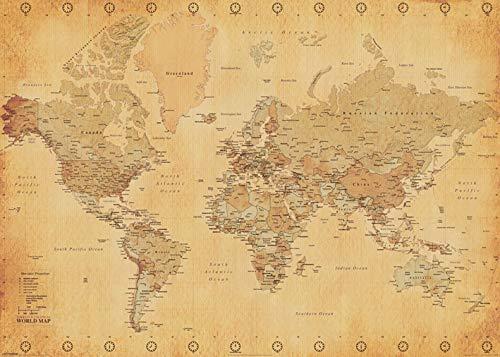 Pyramid International-Póster Mapa Mundo Vintage