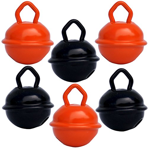 Glöckchen schellen Halloween 15mm - 3 Orange + 3 Schwartz - schön laut sound (nicht rostend) - Mehr als 16 farben in 3 Größen (Glöcken Kugeldurchmesser 15 mm, 24 mm, 35 mm) - Glöckchen zum basteln, kreatives Gestalten baby, kinder, senioren : musikalischen Früherziehung, deko, Schlüsselanhänger, Hochzeit, fußballfanartikel, Haustiere ...