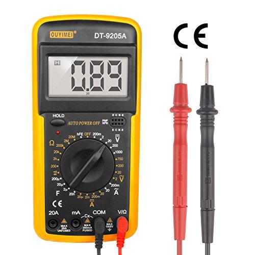 Digtital Multimeter Messgerät LCD Voltmeter Tester Amperemeter Ohmmeter DT-9205A mit robutes Case mit 9V Batterie Dt Lcd