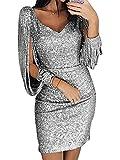 Minetom Robe Femme Sexy Slim Couleur Unie Robe Soirée Manches Longues à Franges Robe Cocktail Col V Robe Moulante à Paillettes Silber DE 36