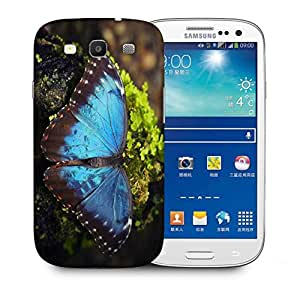 Snoogg Blue Butterfly Printed Protective Phone Back Case Cover For Samsung S3 / S III