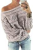 YOINS Schulterfrei Oberteile Damen Herbst Winter Off Shoulder Pullover Pulli für Damen Loose Fit mit Blumenmuster Hellkhaki S